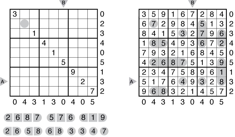 Example Battleship Sudoku and solution