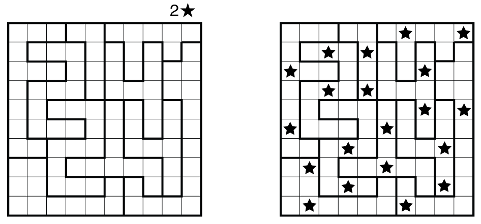 Example Star Battle and solution