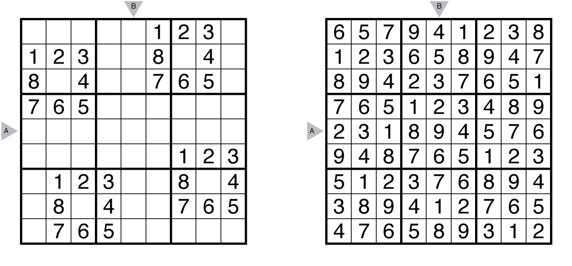 Example sudoku and solution