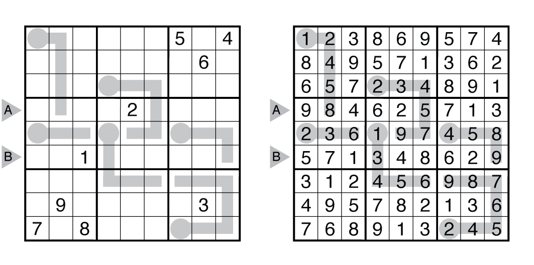 Example Tight Fit Sudoku and solution